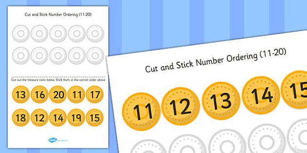 Pirate Themed Cut and Stick Number Ordering Activity 11-20 - cut