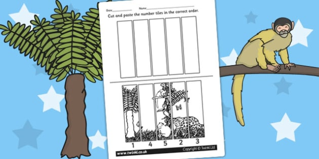Rainforest Themed Number Sequencing Puzzle - numbers, order, sort