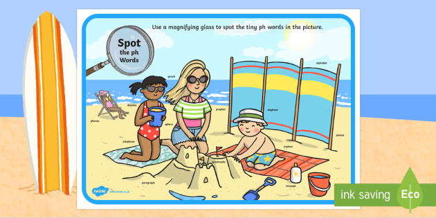 Phase 5 ph Words Beach Scene Magnifying Glass Worksheet / Activity Sheet - phonics, letters and sounds, phase 5, ph sound, magnifier, magnifying glass, find, activity, group,