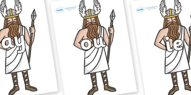 Phase 5 Phonemes on Viking Gods - Phonemes, phoneme, Phase 5, Phase five, Foundation, Literacy, Letters and Sounds, DfES, display