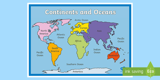 Continents And Oceans Map Countries World Map Globe Earth - World map oceans continents