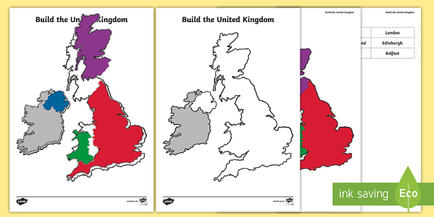 Build The United Kingdom Activity Sheet - Britain, Wales, England, Ireland, Scotland, map, jigsaw map, worksheet