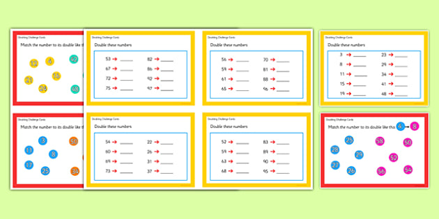 Doubling Challenge Cards - doubling, challenge cards, challenge, cards, double