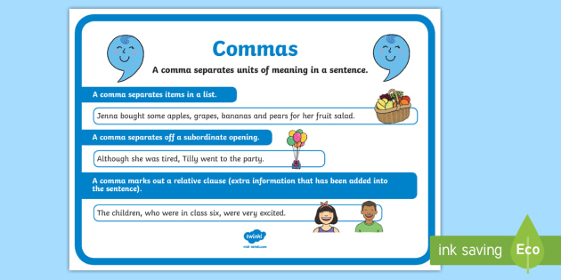 Commas Punctuation Poster - commas, punctuation, literacy, poster