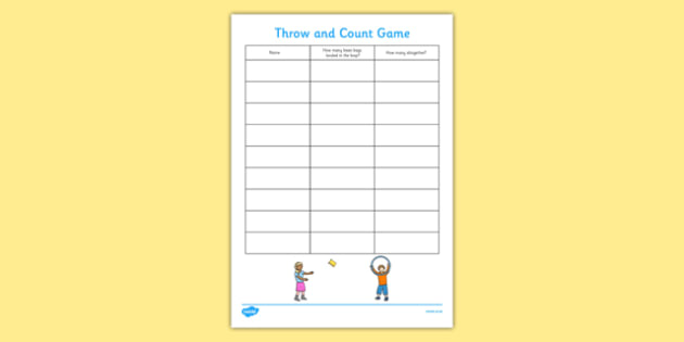 Throw and Count Game Score Sheet - throw, count, game, score, sheet, count game