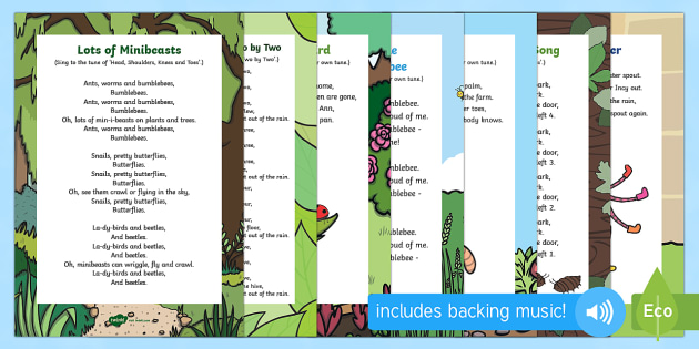 Minibeast Themed Songs And Rhymes Resource Pack - bugs, woodlice, worms, worm, spider, ladybird, bee, bees