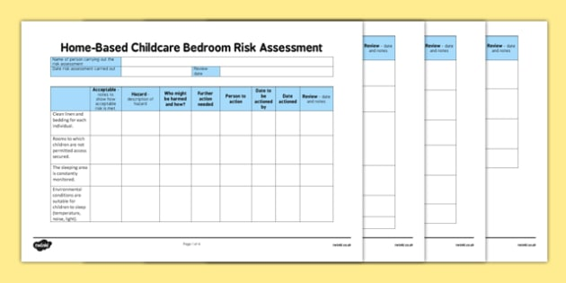 Home based childcare bedroom risk assessment for Homebase design your own bedroom