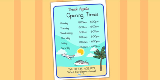 Travel Agents Opening Times Role Play Display Poster - role play