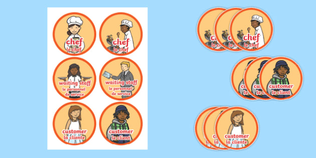 Pizza parlour role play badges English/French