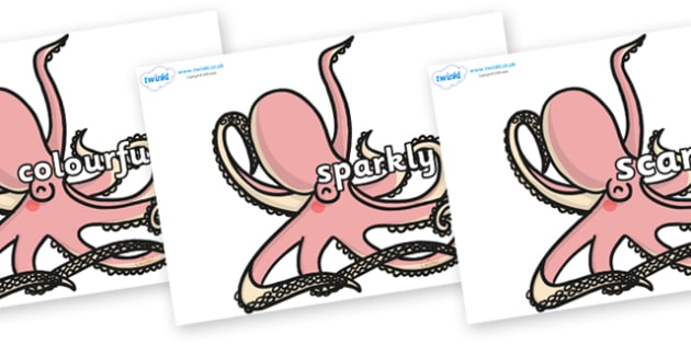 Wow Words on Octopuses - Wow words, adjectives, VCOP, describing, Wow, display, poster, wow display, tasty, scary, ugly, beautiful, colourful sharp, bouncy