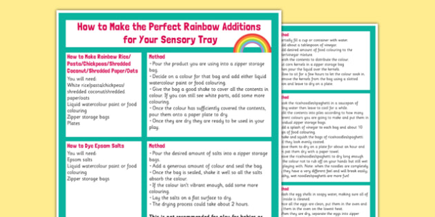 How to Make Rainbow Additions for Your Sensory Tray - how, make, rainbow, additions, sensory, tray, sensory tray