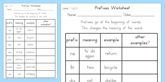 Prefixes Worksheet - prefixes, literacy, punctuation, worksheet