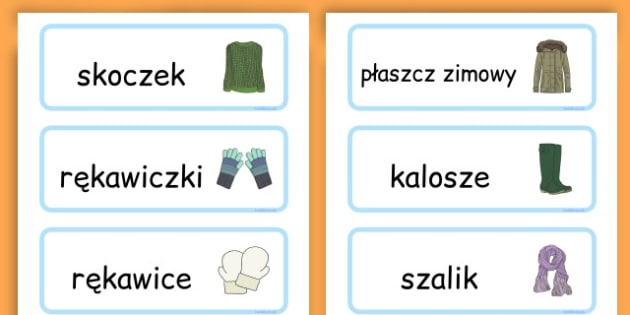 Karty ze słownictwem Zimowe ubrania po polsku