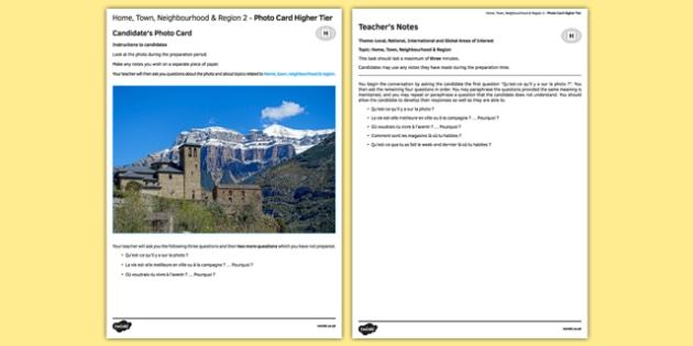 Ma maison, ma ville, mon environnement & ma région 2 Carte photo Higher Tier - french, Photo, picture, card, higher, home, town, neighbourhood, region, maison, ville, région