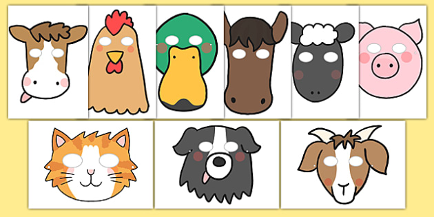 Farm Role Play Masks - Farm, animals, animal, Role Play, mask, pig, cow, chicken, goat, sheep, hay, milk, eggs