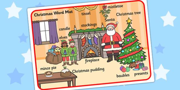 Christmas Scene Word Mat - chrisrmas, vocabulary mat, word mat, key words, topic words, word poster, vocabulary poster, scene words, literacy, scene