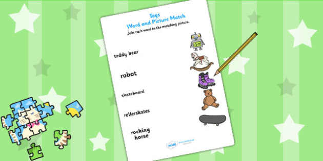 Toy Word and Picture Matching Worksheet - toys, match, matching