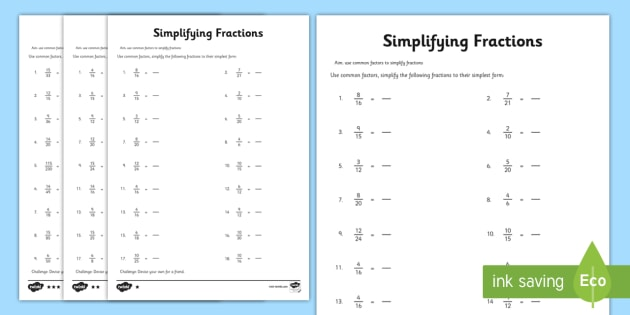 Year 6 Simplifying Fractions Worksheet Activity Sheet year – Simplest Form Worksheet