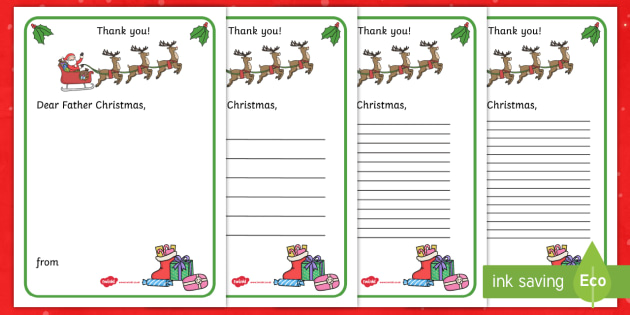 thank you letter to father christmas writing template thank