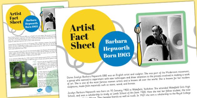 Artist Fact Sheet Barbara Hepworth - barbara hepworth, fact