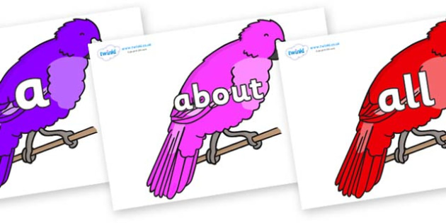100 High Frequency Words on Parakeets - High frequency words, hfw, DfES Letters and Sounds, Letters and Sounds, display words