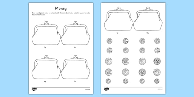 Money Activity Sheet - CfE, numeracy, money, coin recognition, coins, activity, scottish, curriculum, early, maths, assess, assessment, excellence, scotland, worksheet