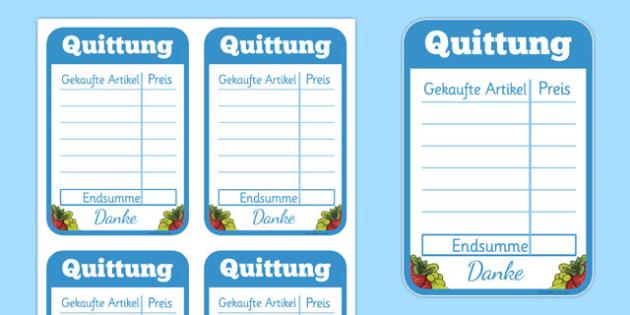 Restaurant Role Play Receipt German - german, food, roleplay, props, eating