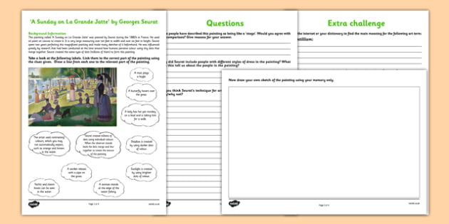 A Sunday on La Grande Jatte by Seurat Art Appreciation Activity Sheet - A Sunday on La Grande Jatte, Seurat, art, activity, sheet, worksheet