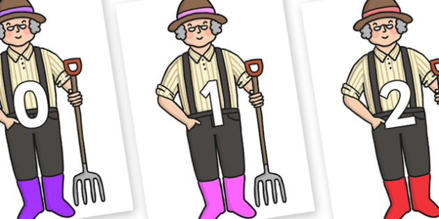 Numbers 0-50 on Enormous Turnip Farmer - 0-50, foundation stage numeracy, Number recognition, Number flashcards, counting, number frieze, Display numbers, number posters