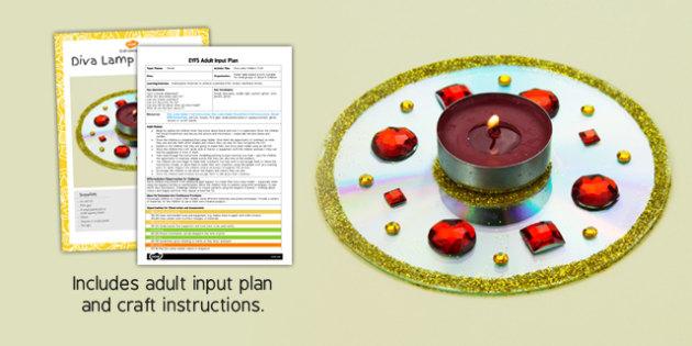 Diva Lamp Holders CD Craft EYFS Adult Input Plan and Craft Pack - diva lamp, holders, cd, craft, eyfs