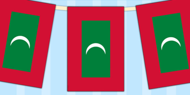 The Maldives Flag Display Bunting - countries, geography, display