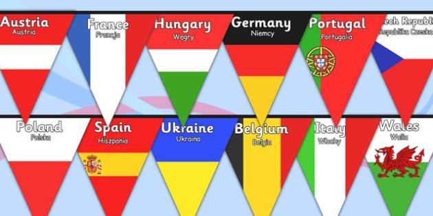Euro 2016 Country Flag Bunting Polish Translation - polish, euro 2016, football, euro, 2016, country, flag, bunting