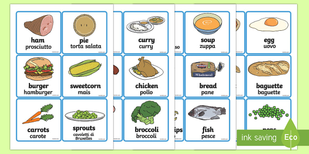 Food Word Cards English/Italian (teacher made)