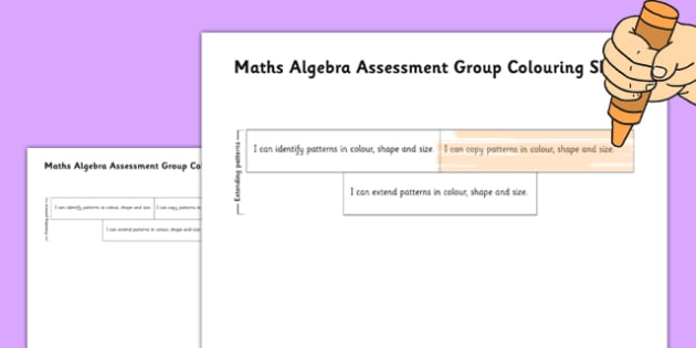 1999 Curriculum Junior Infants Maths Algebra Assessment Group Colouring Sheets - roi, irish, gaeilge, assessment, checklist, maths, junior infants, algebra