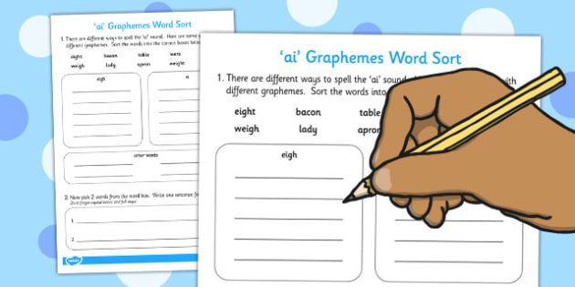 ai Graphemes Word Sort Worksheet - ai, graphemes, word, sorting, words