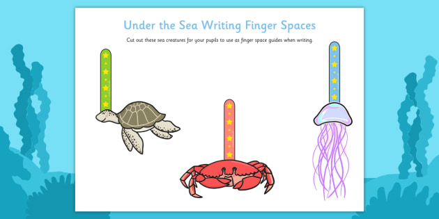 Under the Sea Writing Finger Spacers - under the sea, writing, finger spacers, write, handwriting