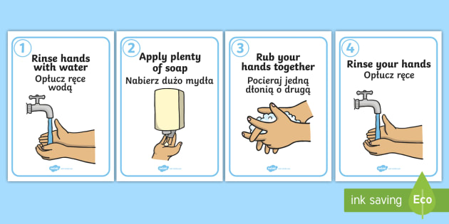 How to Wash Your Hands English/Polish (teacher made)