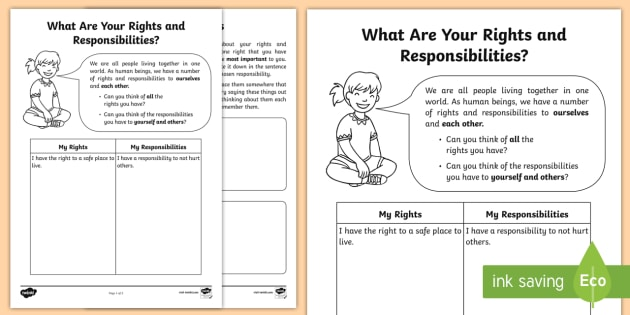 What Are Your Rights and Responsibilities? Worksheet / Worksheet - worth