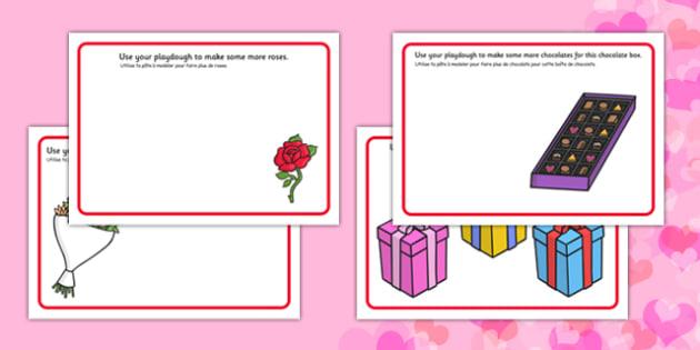 Valentine's Day Playdough Mats French Translation - french, valentines day, fine motor skills