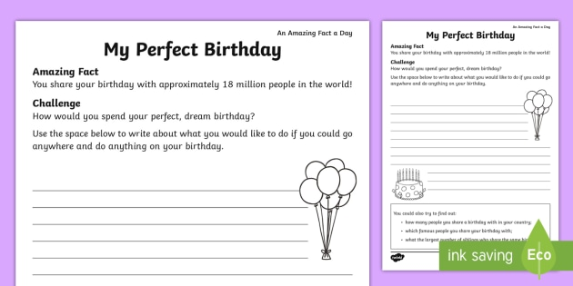 my perfect birthday worksheet worksheet amazing fact of the day. Black Bedroom Furniture Sets. Home Design Ideas
