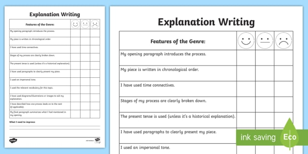 Explanation Writing Student Self Assessment Sheet  Explanation