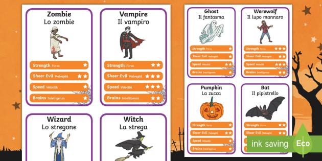 Halloween Character Card Game English/Italian - halloween, top trump, cards, halloween activities, halloween games, playing cards, games, activities