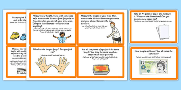 Measuring Length Challenge Cards Arabic Translation - Key Stage 2, KS2, Reasoning, Test, Practice, Measurement, Time