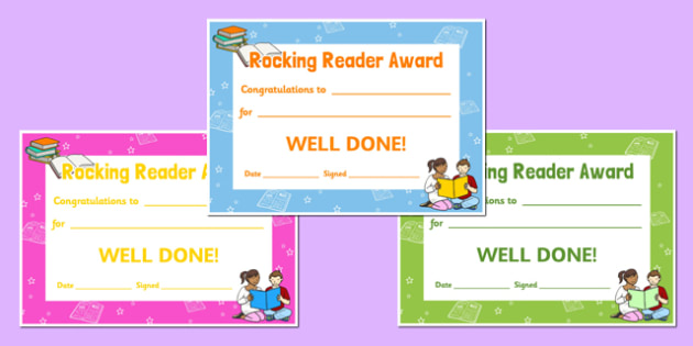 Rocking Reader Reading Award Certificates - read, certificate, reward, award