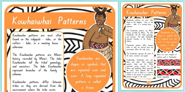 Kowhaiwhai Patterns A4 Display Poster