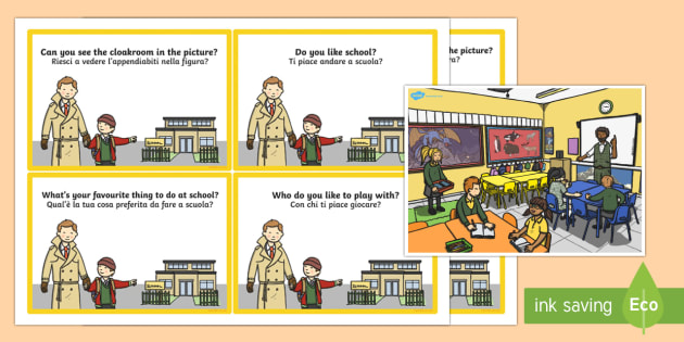 School Scene and Question Cards Italian Translation - School Scene and Question Cards - school scene, question, cards