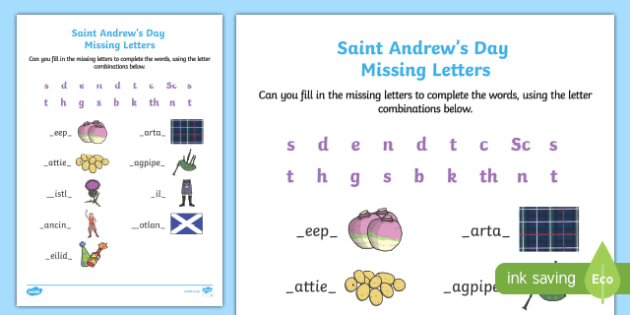 Saint Andrew's Day Missing Beginning and Final Letters Activity Sheet-Scottish, worksheet