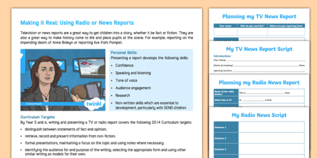 Making A Tv Or Radio News Report Teaching Ideas