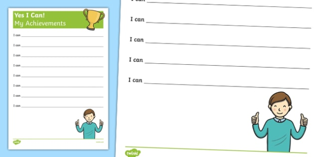 Yes I Can! My Achievements KS1 Worksheet / Activity Sheet, worksheet