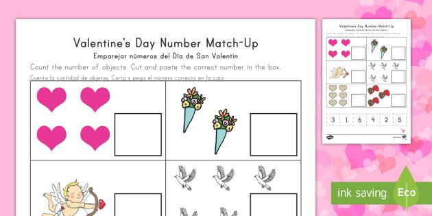 valentine 39 s day number match up worksheet worksheet english spanish. Black Bedroom Furniture Sets. Home Design Ideas